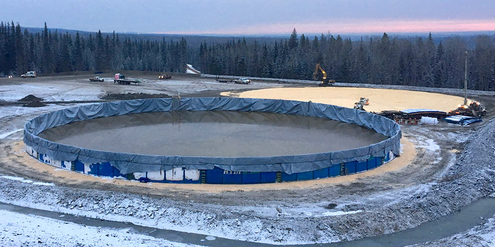 frac pond with liner in the winter
